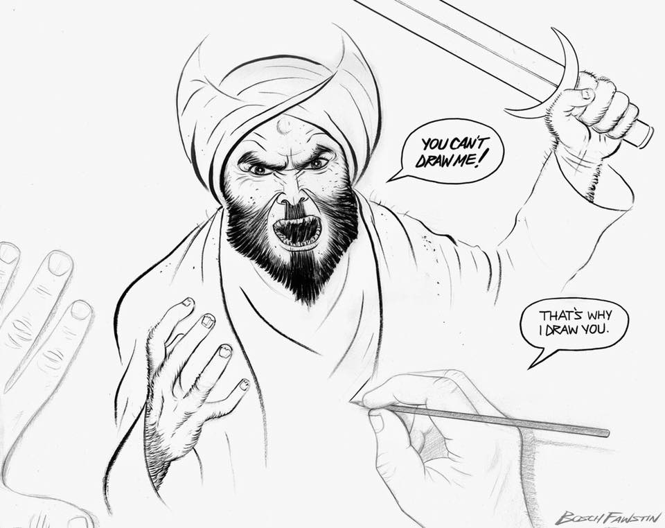 Cartoonist drawing Mohammed saying 'You can't draw me.'